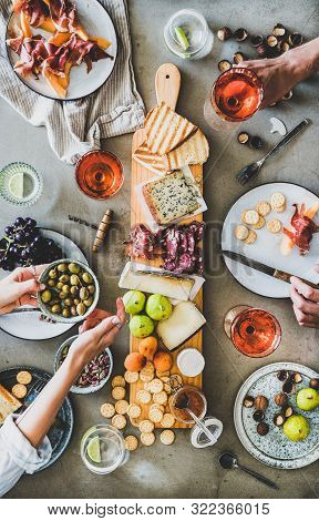 Seasonal Picnic With Rose Wine, Cheese, Charcuterie And Appetizers