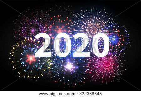 Fireworks Explosion. Happy New Year 2020 Event Banner. Pyrotechnics Sparks. Festive Firework Celebra