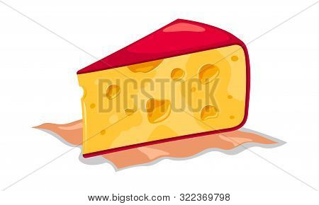 Wedge Of Appetizing Creamy Yellow Holed Semi Hard Cheese With Red Rind On Napkin. Cheddar, Maasdam,