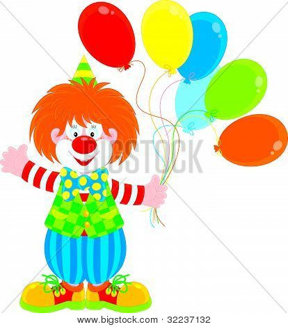 Circus clown with balloons