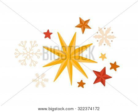 Stars And Snowflakes Winter Season Decorations Flat Vector Set. Christmas Holidays Stickers Isolated