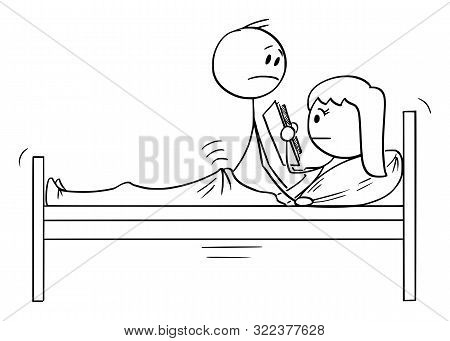 Cartoon Stick Figure Drawing Conceptual Illustration Of Heterosexual Couple Of Man And Frigid Woman
