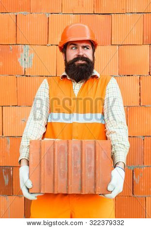 Funny Builder. Hard Work. Handwork. Load On The Back. Gravity To Wear. Construction And Unsafe Work
