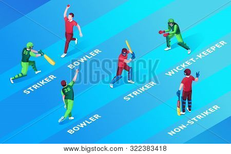 Set Of Isolated Man At Cricket Fielding Positions Name. Bowler And Striker, Wicket-keeper And Non-st