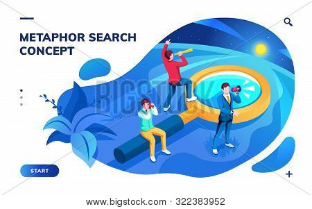 poster of Isometric page for search concept. Metaphor for SEO and job, work, news and information searching. Analysis and optimization, monitoring and web surf app. Team with magnifying glass. Smartphone screen