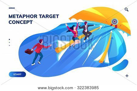 Isometric page for smartphone application with target or goal concept. Metaphor for aim in business success, reach sales or investment growth. Motivation plan or finance progress, leadership. Arrow poster