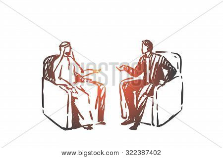 Political Meeting, Diplomacy Concept Sketch. Business Interview, Corporate Relationship Establishmen