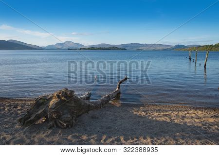 Loch Lomond, Scotland, Tranquil Peaceful Evening On The Shores Of The Bonnie Banks