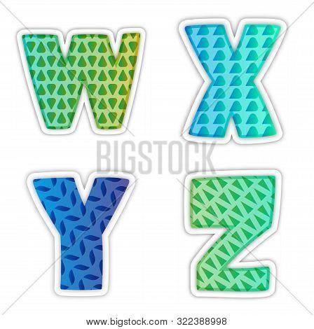 Alphabet. Letters W, X, Y, Z. Letter, Business, Design, Lettering, Modern, Sign, Symbol, Typography,