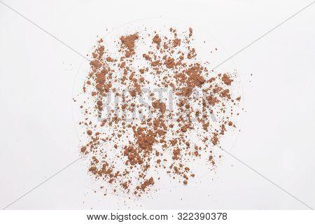 Ground Cocoa Powder Isolated On White Backgroud.