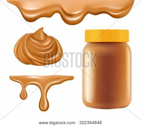 Peanut Butter. Healthy Breakfast Caramel Or Chocolate Butter Sweet Creamy Dessert Vector Realistic C