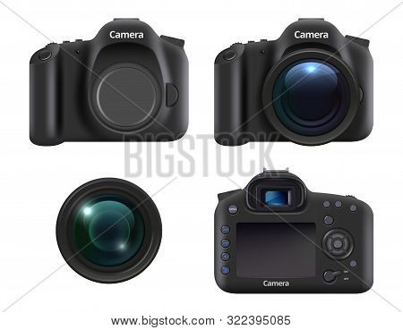 Digital Cameras. Realistic Dslr Photo Camera For Photographers With Lens And Professional Equipment