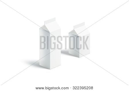 Blank White Small And Big Milk Pack Mock Up Set, 3d Rendering. Empty Nectar Carton Packet Mockup, Si