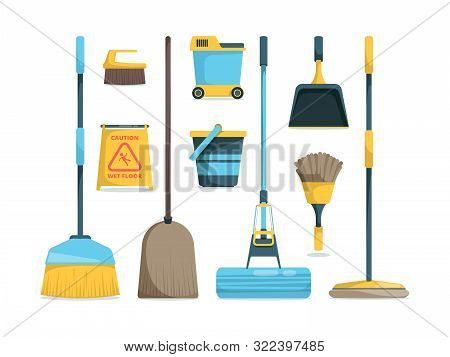 Broom Collection. Household Equipment Mops And Brooms For Floor Home Hygiene Vector Cartoon Pictures