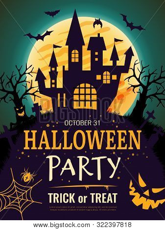 Halloween Poster. Scary Party Invitation Flyer Template With Horror Symbols Pumpkin Bones Skull Vect