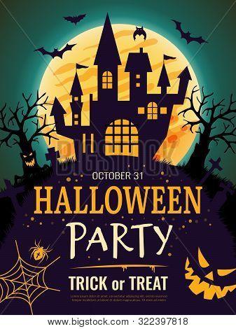 Halloween Poster. Scary Party Invitation Flyer Template With Horror Symbols Pumpkin Bones Skull Vect