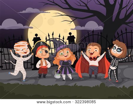 Halloween Backgrounds. Kids Playing In Scary Costumes For Halloween Devil Horror Party Ghost Zombie