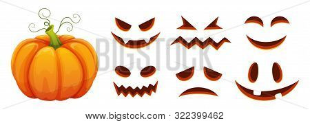 Halloween Pumpkin Faces Generator. Vector Cartoon Pumpkin With Scared And Smiley Faces. Illustration