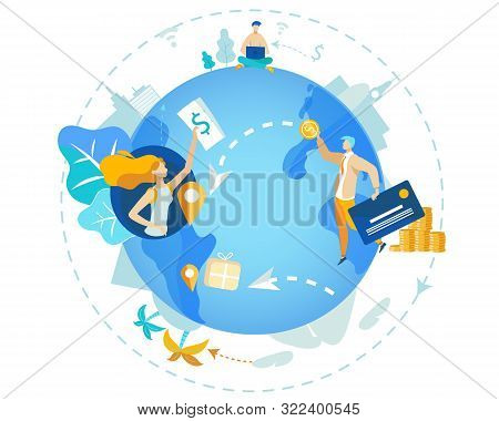 Informational Poster Transfer Funds Worldwide. Closeup Blue Planet. Man And Woman In Different Parts