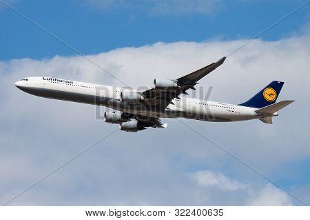 Frankfurt / Germany - August 19, 2013: Lufthansa Airbus A340-600 D-aihf Passenger Plane Departure At