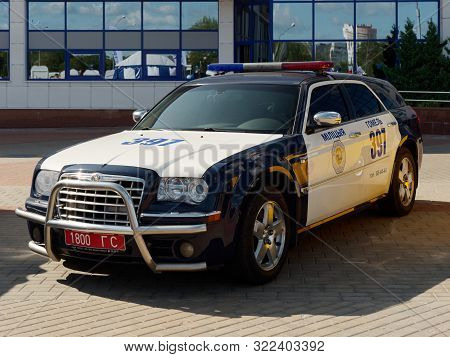 Gomel, Belarus - September 14, 2019: Modern Car Of The State Traffic Inspectorate In Black