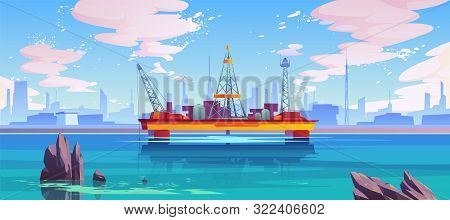 Oil Derrick, Rig Semi-submersible Platform, Sea-based Offshore Drilling Equipment For Gas Or Petrol