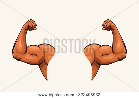 Illustration Of Cartoon Design Of Human Hands Biceps Isolated On White Background