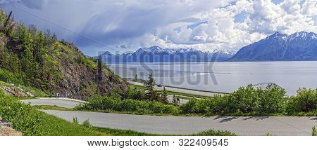 A Rest Stop View Of Turnagain Arm Along Route 9 Just Past Anchorage Alaska.