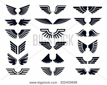 Silhouette Pair Of Wings Icon. Angel Wing, Decorative Fly Emblem And Eagle Stencil Symbols. Angels W