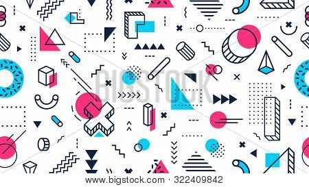 Colorful Memphis Style Seamless Pattern. Abstract Geometric Shapes, Funky Modern Design And 80s Memp