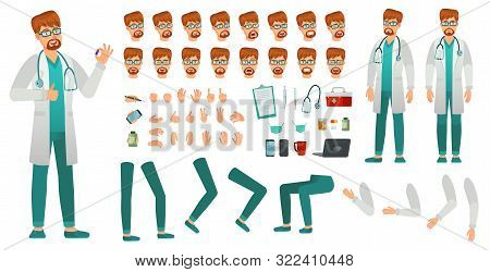 Cartoon Medicine Doctor Creation Kit. Medical Man, Healthcare Medic And Male Doctor Character Constr