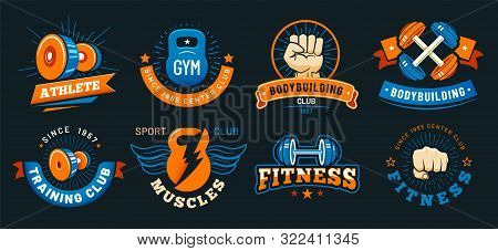 Vintage Gym Emblem. Athlete Muscles, Fitness And Bodybuilding Labels. Sport Signs, Athlete Logo Silh