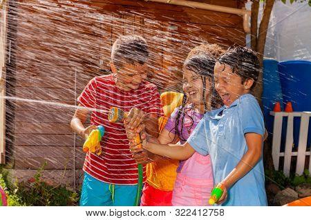 Kids Play Shooting Water Gun Game, Hot Summer Day