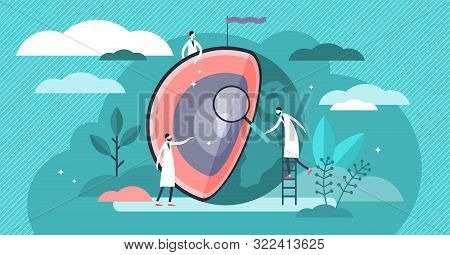 Earth Layers Vector Illustration. Flat Tiny Globe Research Person Concept. Abstract Core, Mantle, Cr
