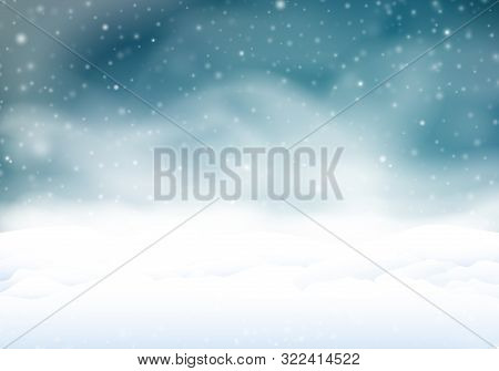 Snowstorm In The Night. Winter Background With Snow Banks In The Snowfall.