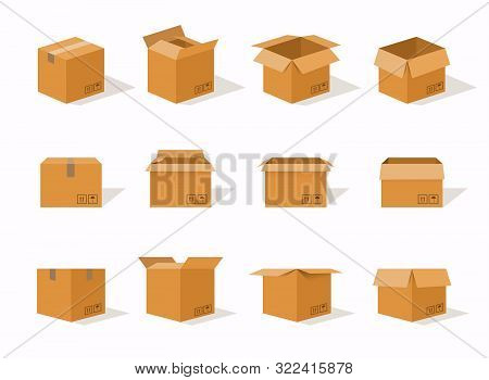 Carton Delivery Packaging Open And Closed Box With Fragile Signs. Cardboard Box Mockup Set.