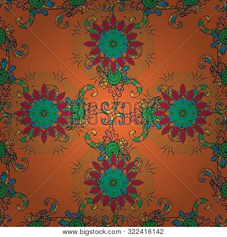 Ethnic Texture. Vintage Decorative Ornament On Black, Green And Orange Colors. Colored Mandala Patte