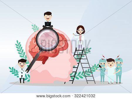 Teamwork Of Doctors Is Diagnosing The Brain.  Mental Health Concept. Solving Mental Problems. Psycho