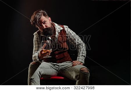 Alcoholism And Alcohol Addiction And People Concept. Stop Alcohol Addiction. Bearded Handsome Man Ho
