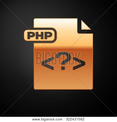 Gold Php File Document. Download Php Button Icon Isolated On Black Background. Php File Symbol. Vect