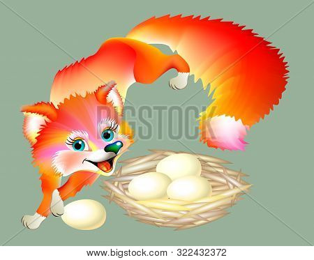 Sly Fox Regales Eggs From A Nest, Vector Cartoon Image.