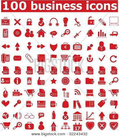 100 red business icon set vol. 13 - vector, easy edit