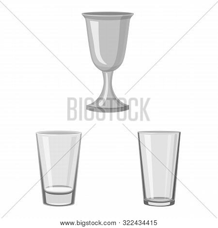 Vector Design Of Capacity And Glassware Symbol. Collection Of Capacity And Restaurant Stock Symbol F