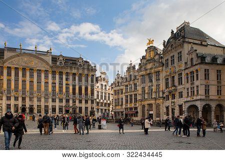Brussels, Belgium - February 24, 2017: Ornate Facades Of Houses In The Grand Place, The Central Squa