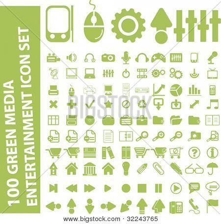 100 light green media entertainment icon set