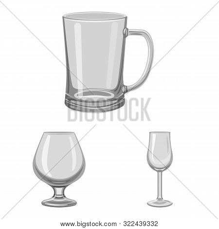 Isolated Object Of Capacity And Glassware Symbol. Collection Of Capacity And Restaurant Stock Vector