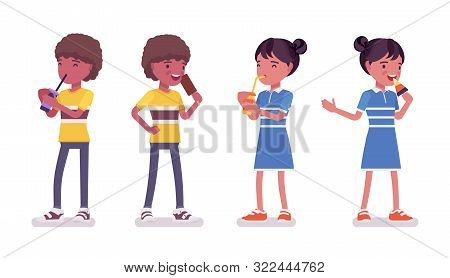 Black Boy, Girl Child 7, 9 Year Old, Active School Age Kid Wearing Summer Outfit Standing, Drinking
