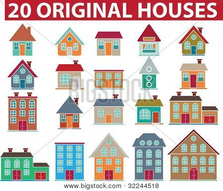 20 original colorful houses.vector