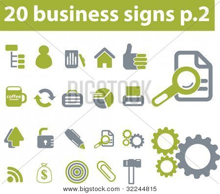 20 basic business signs. vector. green series.