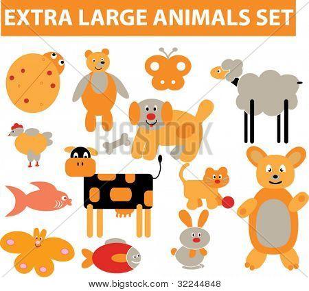 extra large animals set. vector